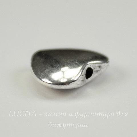 Бусина металлическая в виде сердца (цвет - платина ) 11х9 мм