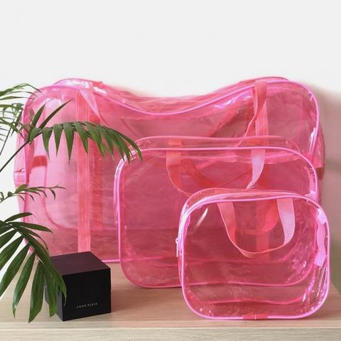 Тонированная прозрачная сумка в роддом с 2 косметичками, розовая, вид 1