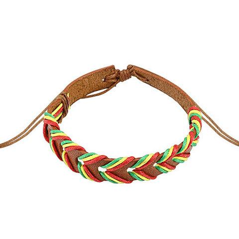Недорогой лёгкий яркий мужской браслет из натуральной кожи и ниток SPIKES SL0192