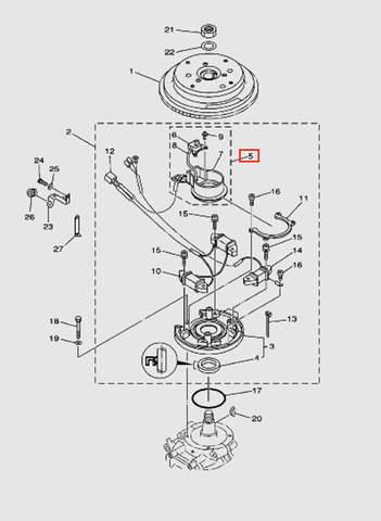 Катушка импульсная в сборе для лодочного мотора T40 Sea-PRO (8-5)