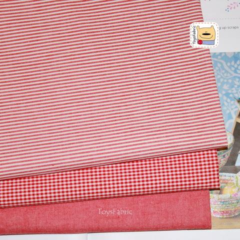 Набор тканей корейский двусторонний хлопок 51823 Красный (45х35см/3шт.)