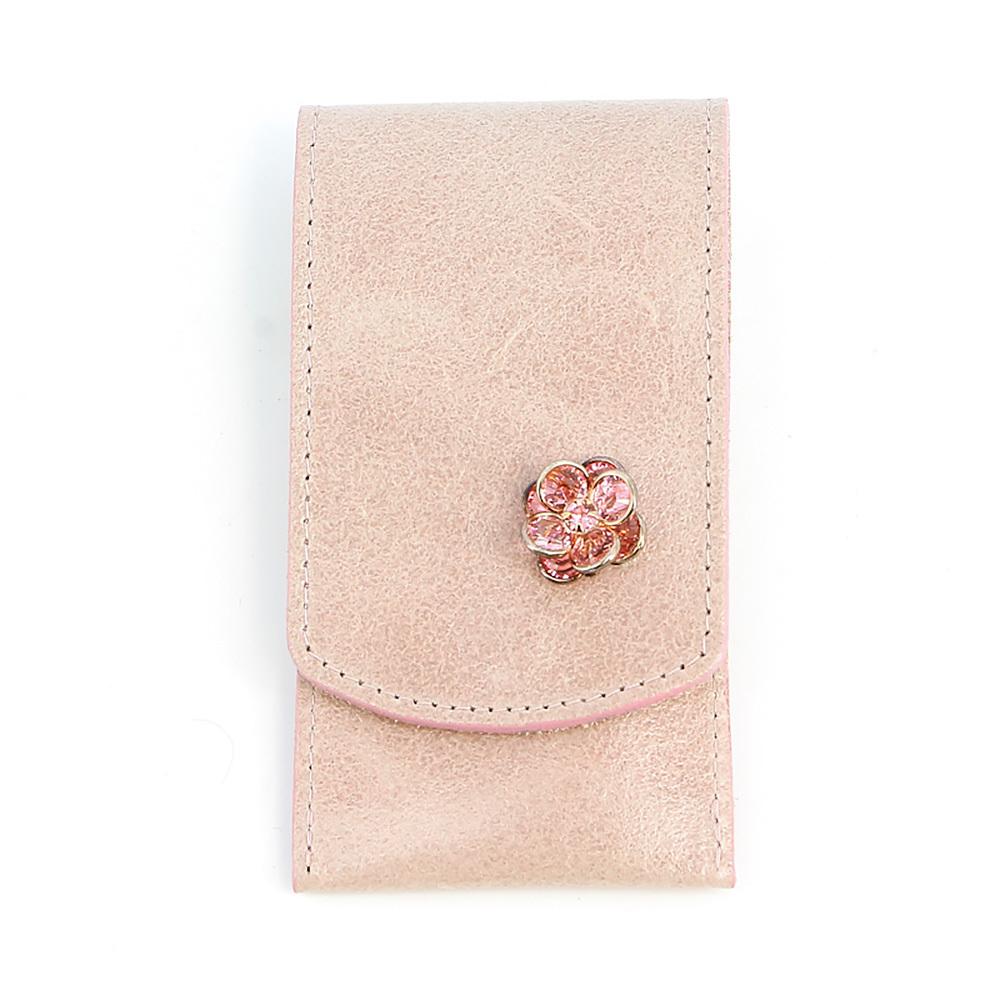 Маникюрный набор Dovo, 3 предмета, цвет розовый, кожаный футляр