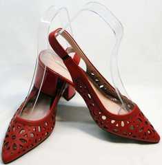 Модные красные туфли босоножки с открытой пяткой женские G.U.E.R.O G067-TN Red.