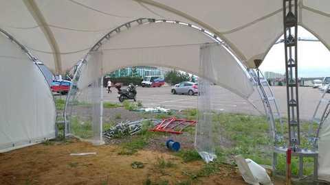 Стенка для шатра раздвижная прозрачная с полумесяцем 6х6