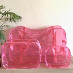 Тонированная прозрачная сумка в роддом с 2 косметичками, розовая, вид 2