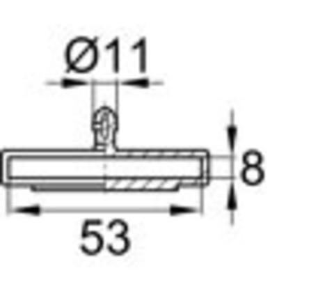 Латодержатель 53 мм центральный, накладной серый