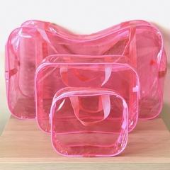 Тонированная прозрачная сумка в роддом с 2 косметичками, розовая, вид 3