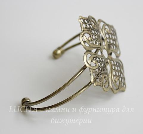 Основа для браслета с филигранным цветком, 14 см (цвет - античная бронза)