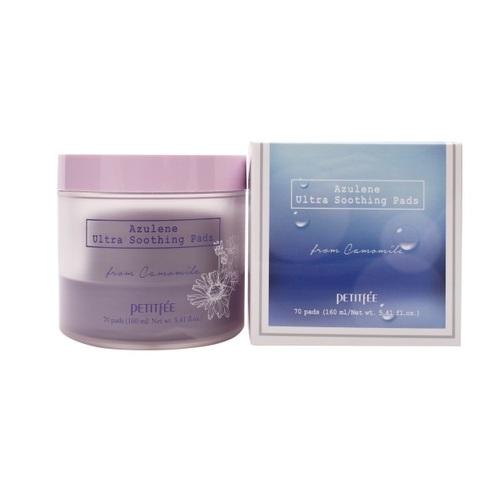 Подушечки для лица успокаивающие очищающие с азуленом Petitfee Azulene Ultra Soothing Pads 70шт