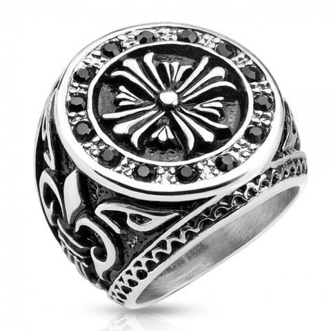 Большой крупный солидный мужской перстень из ювелирной медицинской стали 316L с чернением и чёрными камнями цирконами с символами королевской власти