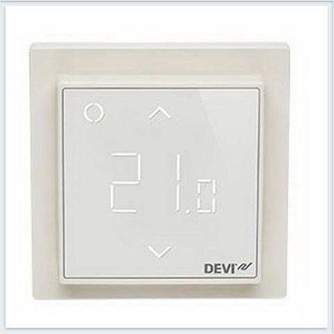 Терморегулятор для теплого пола. Терморегулятор DEVIreg™ Smart  интеллектуальный с Wi-Fi, Бежевый, 16А. 140F1142
