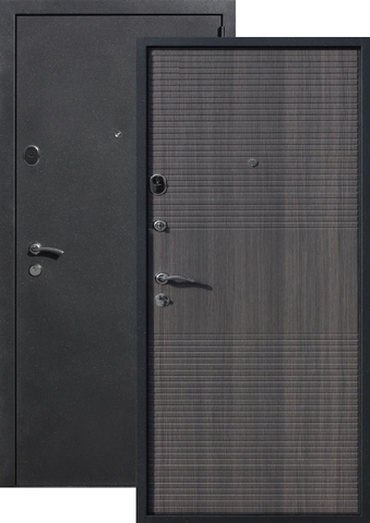 Дверь входная Бронин Грань 75 Муар, 2 замка, 1,4 мм  металл, (чёрный муар+серый кедр)