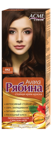 Рябина Avena Крем-краска для волос тон №042 каштановый