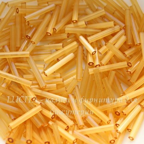 15041 Бисер Preciosa стеклярус 15 мм, шестиугольный, бежево-желтый сатин