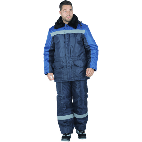 Костюм зимний (куртка + п/комб) василек с темно-синим