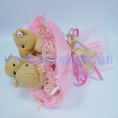 Букет из 3 золотых мишек — Розовый