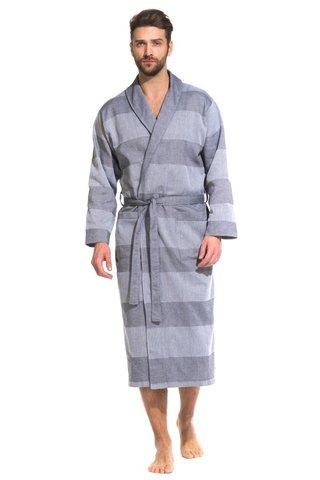 Легкий мужкой халат из органического хлопка 417 серый  PÊCHE MONNAIE