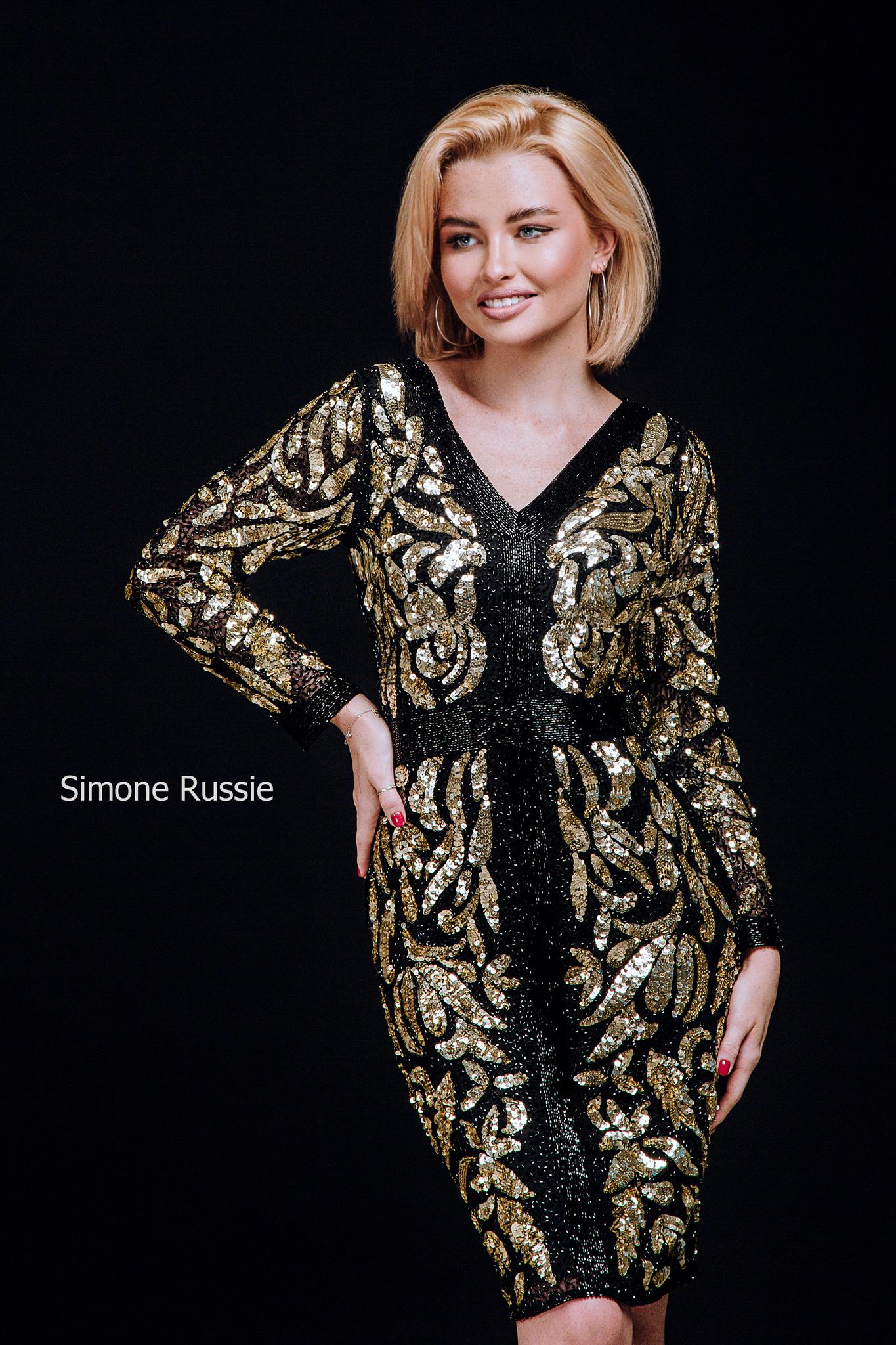 Simone Russie SR1946 Элегантное платье средней длины расшитое черным и золотым бисером