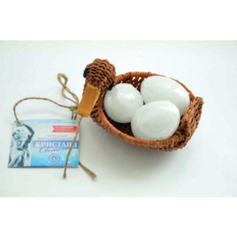 Минеральный квасцовый дезодорант «Кристалл свежест軶(Корзинка подарочная в виде утки с 3-мя яйцами по 65-70 г, плавл.чист.)