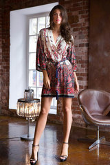 Женский халат кимоно короткий из вискозы с этно принтом