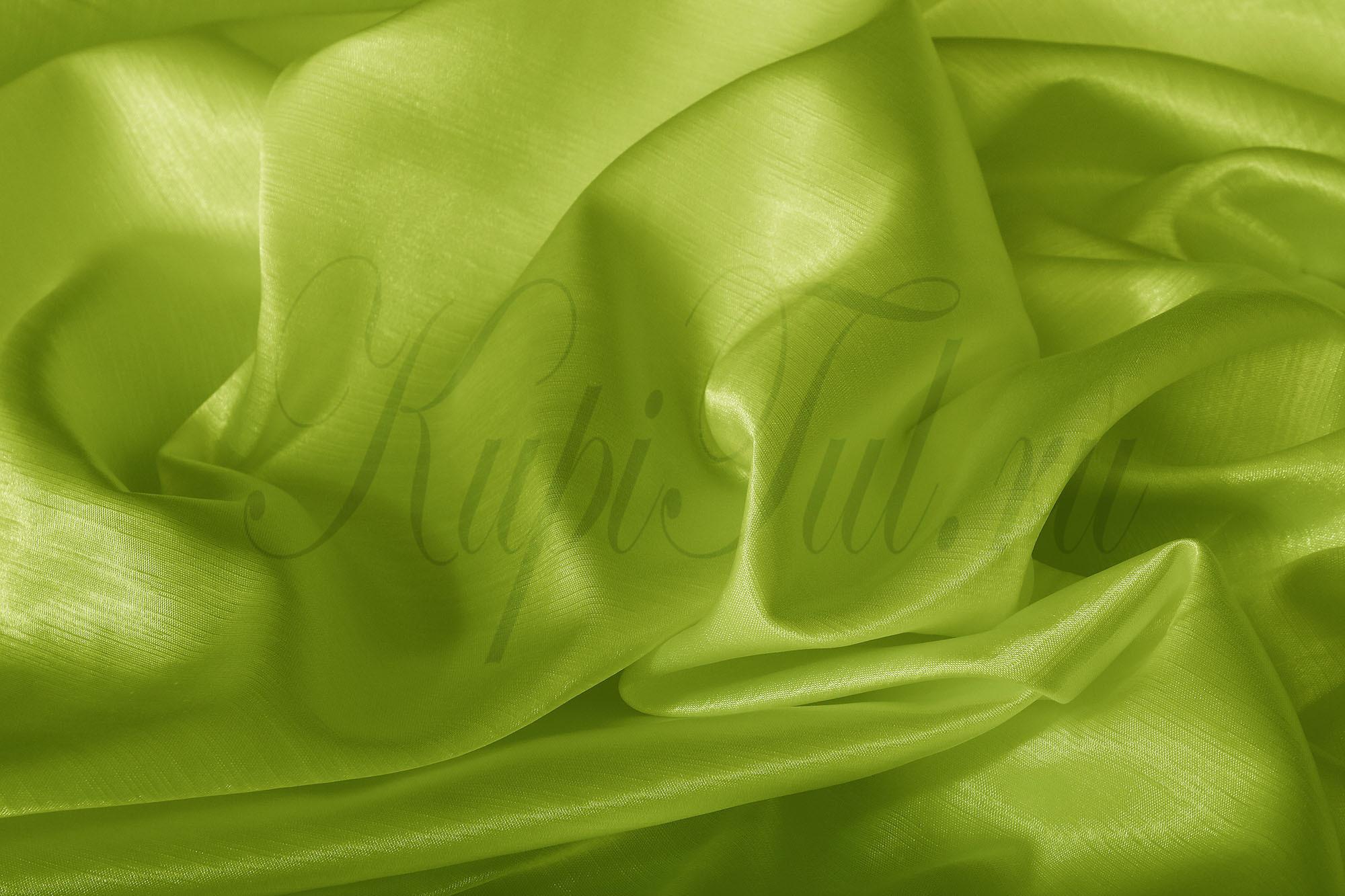 Длинные шторы. Leonardo (Салатовый),  однотонный шик-сатен.