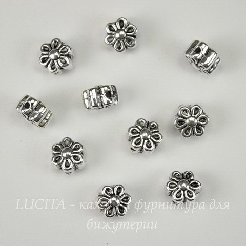 """Бусина металлическая  """"Цветочек"""" (цвет - античное серебро ) 6х4 мм, 10 штук"""