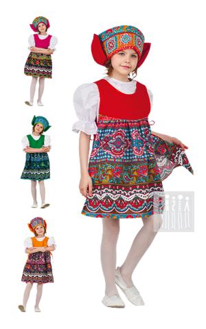 Фото Московский русский народный костюм для девочки с кокошником рисунок Московский сарафан - накидка