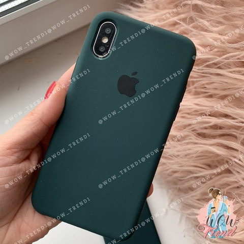 Чехол iPhone XS Max Silicone Case /forest green/ зеленый лес 1:1