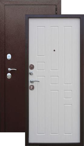 Дверь входная Бронин Грань 8, 2 замка, 1,2 мм  металл, (медь антик+ясень жемчуг)