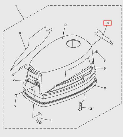 Наклейка задняя для лодочного мотора T5 Sea-PRO (1-8)