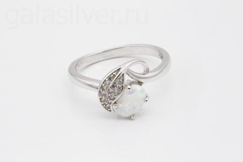 Кольцо с опалом и фианитом из серебра 925