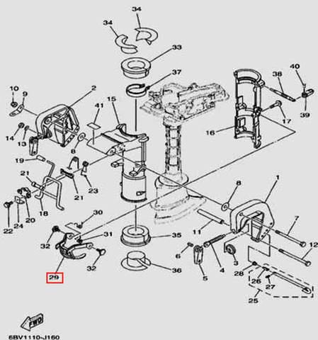 Пластина блокировки наклона для лодочного мотора F5 Sea-PRO(16-29)