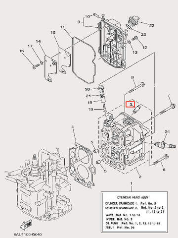 Направляющая клапана для лодочного мотора F9,9 Sea-PRO (4-3)
