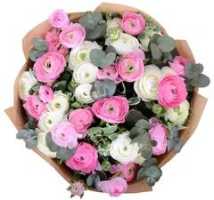 Букет из белых и розовых ранункулюсов с эвкалиптом 29 шт. ПРЕМИУМ