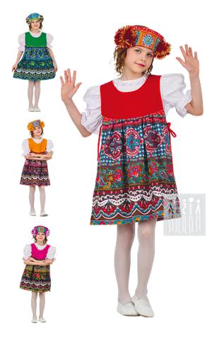 Фото Московский русский народный костюм для девочки с девичьим кокошником рисунок Московский сарафан - накидка
