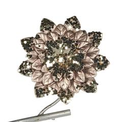 Цветок на клипсе 12см Goodwiil Metallic Flower On Clip шампань с черным