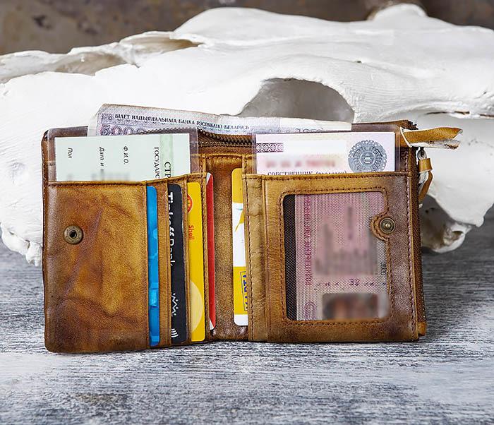 WL304-2 Винтажный кошелек из натуральной кожи фото 07
