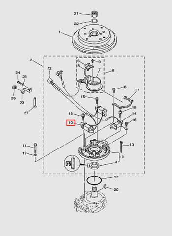 Катушка зажигания генератора для лодочного мотора T40 Sea-PRO (8-10)