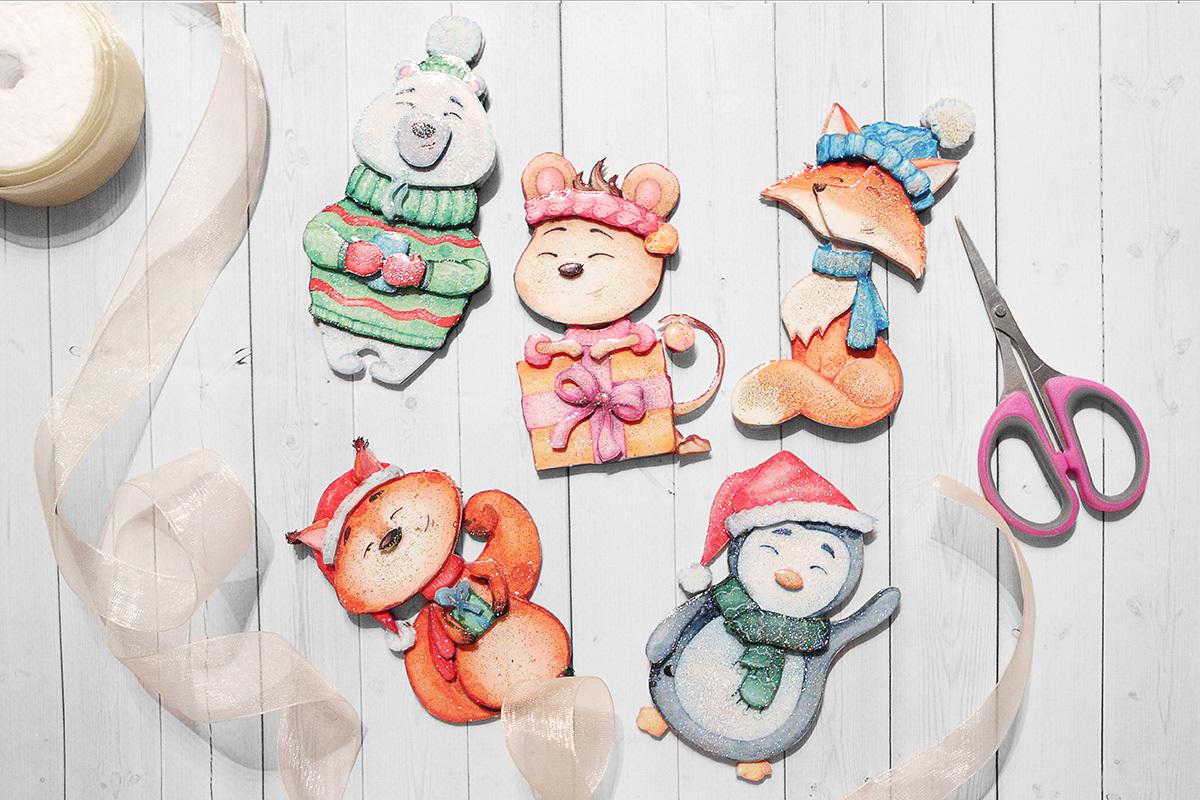 Набор Папертоль Новогодние игрушки зверята, 5 из 10.2