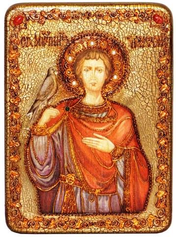 Инкрустированная икона Святой мученик Трифон 29х21см на натуральном дереве в подарочной коробке