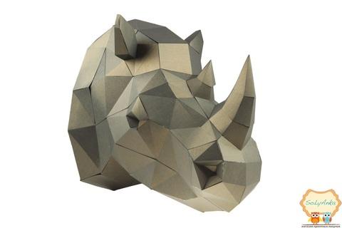 Конструктор. Голова носорога. Papercraft. 3D фигура из бумаги и картона.
