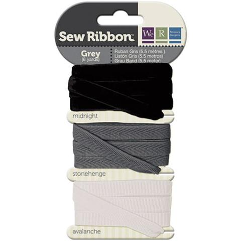 Набор лент. We R Memory Keepers Sew Ribbon - 5,5м- Gray