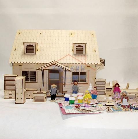 """Деревянный конструктор """"Кукольный домик с мансардой"""" с мебелью и набором кукол"""