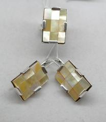 Тетрис (кольцо + серьги из серебра)