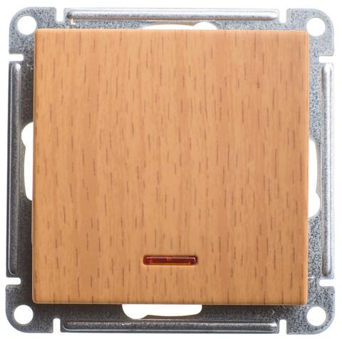 Выключатель одноклавишный с подсветкой, 16АХ. Цвет Бук. Schneider Electric Wessen 59. VS116-153-8-86