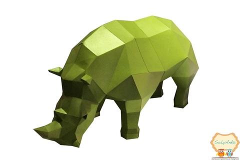Конструктор. Носоріг. Papercraft. 3D фігура з паперу та картону.