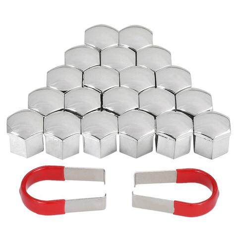 Колпачки хромированные пластиковые для болтов и гаек в блистере 20+1 ключ=21мм