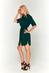 Темно-зеленое платье-рубашка Lolly
