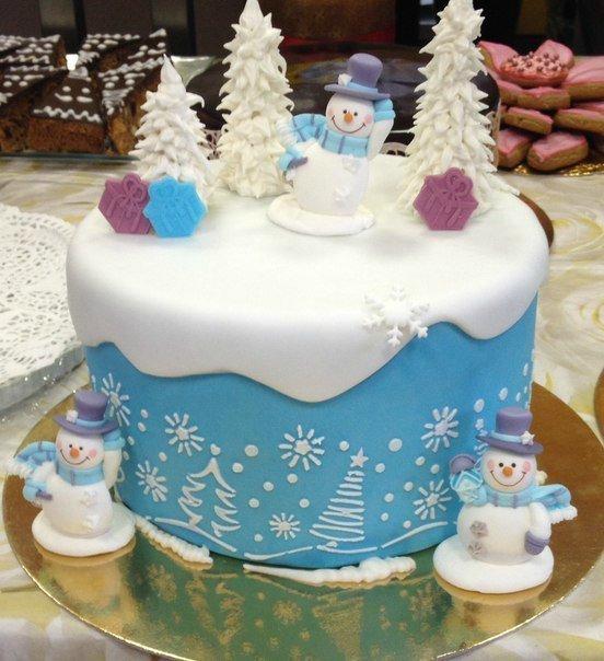 Детские зимние тортики фото
