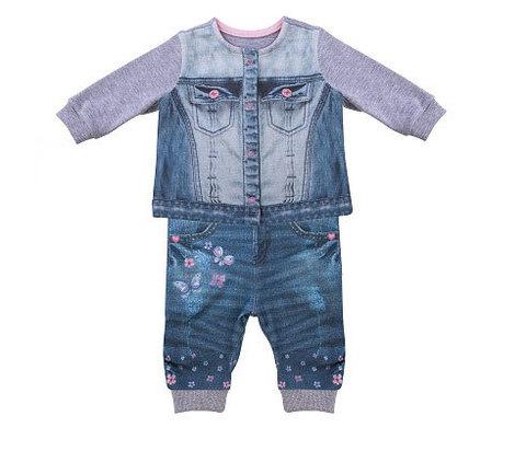 Папитто. Комплект кофточка и штанишки с бабочками для девочки FASHION JEANS